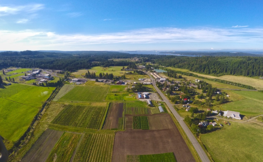 Aerial view of Chimacum, WA and FinnRiver orchards. Photo by Casey Scalf from Sensebellum